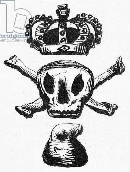 STAMP ACT, 1765 Emblem, attributed to Paul Revere, suggesting that all was death between the crown of England and the liberty (the phrygian cap).