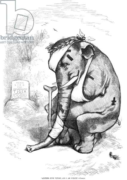ELECTION CARTOON, 1877 An 1877 cartoon by Thomas Nast of a battered Republican elephant licking its wounds after the Pyrrhic victory of the party in the election between Rutherford B. Hayes and Samuel Tilden after twenty disputed electoral votes were awarded to Hayes, 1876.