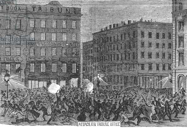NEW YORK: DRAFT RIOTS, 1863 A mob of rioters attacking the offices of the 'New York Tribune' during the New York City Draft Riots of 13-16 July 1863. Contemporary American wood engraving.