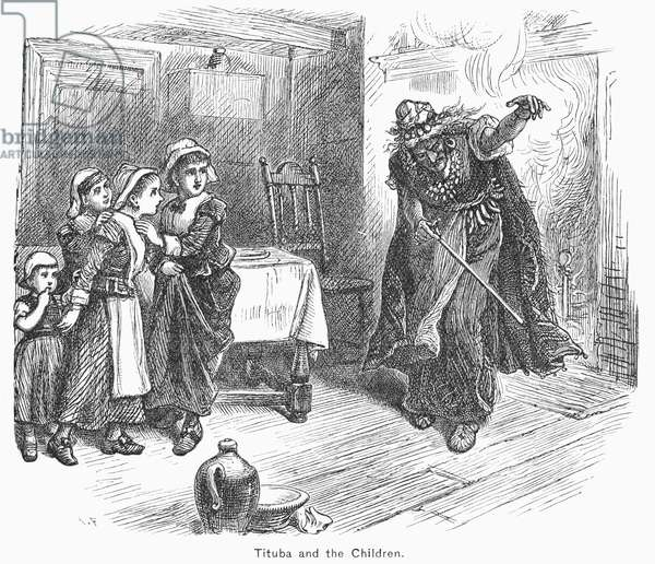 WITCH TRIAL: TITUBA, 1692 The 'witch' Tituba of Salem with Elizabeth Parris and Abigail Williams during the witchcraft delusion of 1692. Wood engraving, 19th century.
