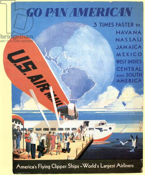 AIRLINE POSTER, 1933 A Pan American Airways counter-top display from 1933 featuring an S-40 airplane.