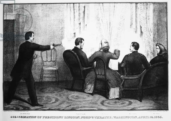 LINCOLN ASSASSINATION The assassination of President Abraham Lincoln by John Wilkes Booth at Ford's Theatre, Washington, D.C., 14 April 1865. Contemporary lithograph.