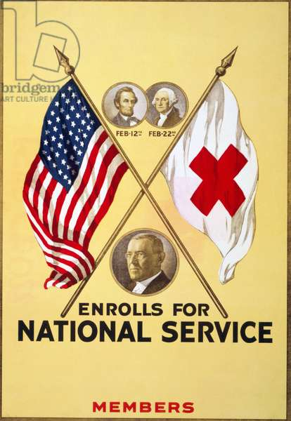 RED CROSS POSTER, 1919 Poster for a Red Cross student membership drive, including blank spaces for the name of the school and the number of students enrolled, with portraits of Woodrow Wilson, Lincoln and Washington. Chromo lithograph, 1919.