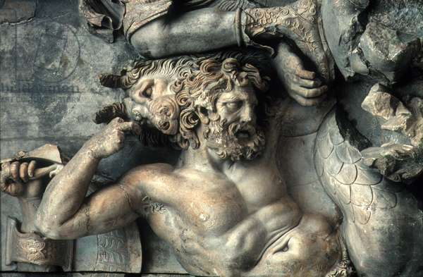 PERGAMUM ALTAR Detail of a giant from the Artemis group. Marble, 2nd century B.C.