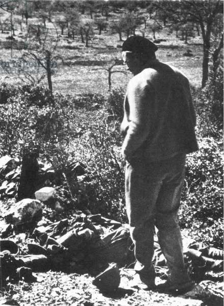 ERNEST HEMINGWAY (1899-1961). American writer. Photographed at the front near Madrid during the Spanish Civil War, 1938.