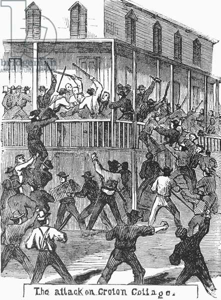 CIVIL WAR: DRAFT RIOTS The attack on Croton Cottage during the New York City Draft Riots of July 13-16, 1863. Wood engraving from a contemporary American newspaper.