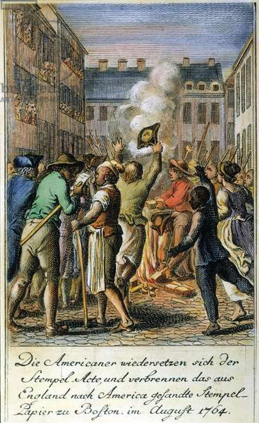 ANTI-STAMP ACT, BOSTON, 1765 Bostonians protesting the Stamp Act by burning the stamps in a bonfire: German coloured  engraving by Daniel Chodowiecki, 1784.