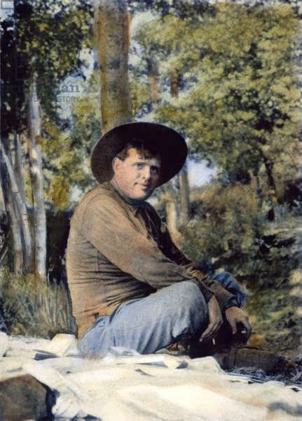 JACK LONDON (1876-1916) Oil over a photograph taken in 1914.
