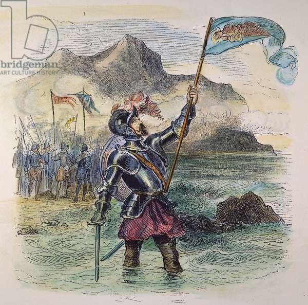 VASCO NUNEZ de BALBOA (1475-1519). Spanish explorer. Balboa taking possession of the Pacific Ocean for Spain on September 29, 1513: coloured  engraving, 19th century.