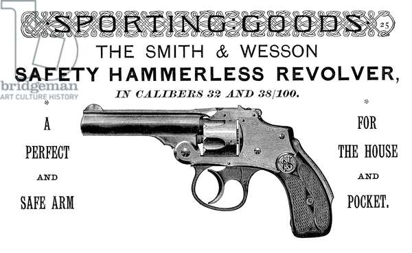 AD: REVOLVER, 1889 American magazine advertisement for the Smith & Wesson hammerless revolver, 1889.