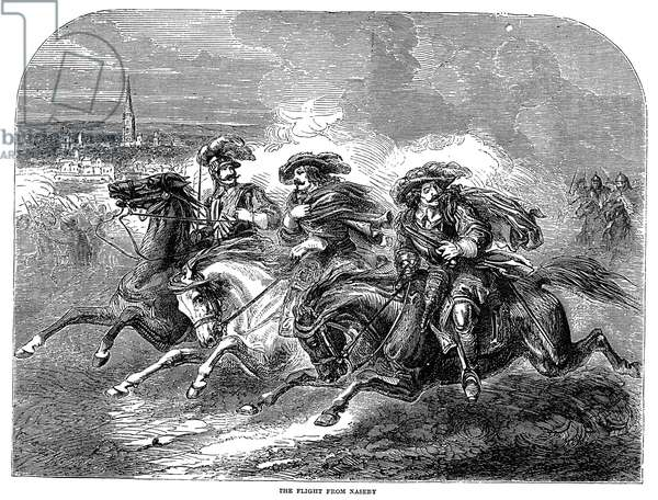 BATTLE OF NASEBY, 1645 Cavaliers loyal to King Charles I flee pursuing Parliamentarians in the service of Oliver Cromwell following the Battle of Naseby, 14 June 1645. Wood engraving, English, 19th century.