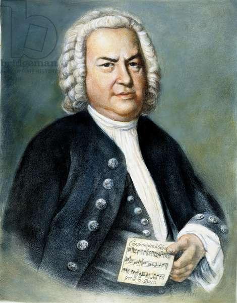 JOHANN SEBASTIAN BACH (1685-1750). German organist and composer. Lithograph after the painting by Elias Gottlob Haussmann.