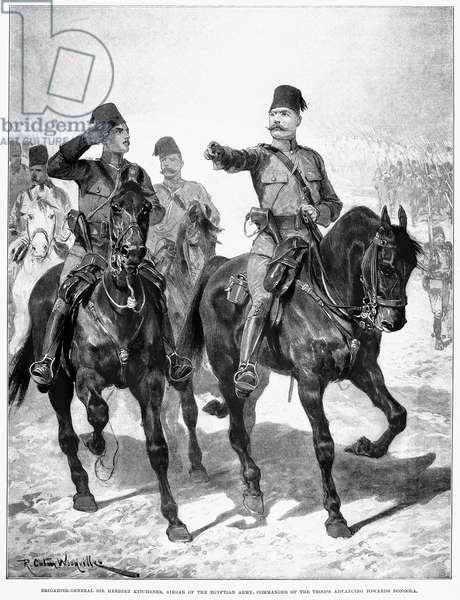 HORATIO HERBERT KITCHENER (1850-1916). 1st Earl of Khartoum and of Broome. British soldier. Lord Kitchener leads the Egyptian army against the Mahdists in Dongola Province, Sudan, 1896. Illustration from a contemporary English newspaper.