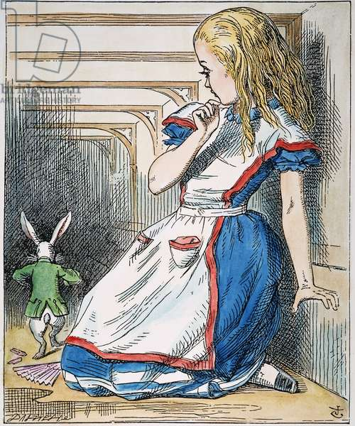 ALICE IN WONDERLAND, 1865. Alice and the White Rabbit. Illustration by John Tenniel from the first edition of Lewis Carroll's 'Alice's Adventures in Wonderland,' 1865.