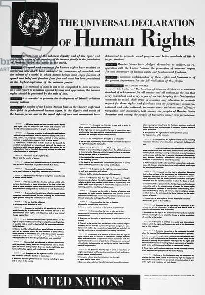 UNITED NATIONS: DECLARATION The United Nations Universal Declaration of Human Rights, 1948.
