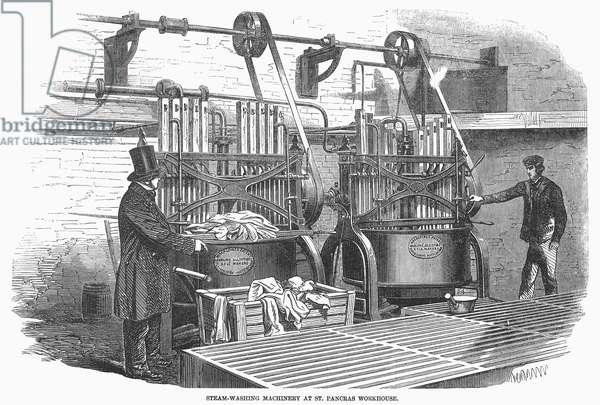 WASHING MACHINE, 1857 Steam washing machine at St. Pancras workhouse in London. Wood engraving, English, 1857.