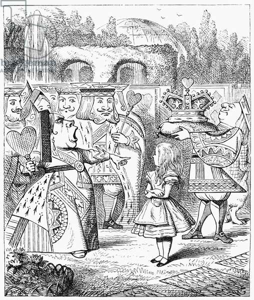 CARROLL: ALICE, 1865 Alice encounters the Queen of Hearts. Illustration by Sir John Tenniel from the first edition of Lewis Carroll's 'Alice's Adventures in Wonderland,' 1865.