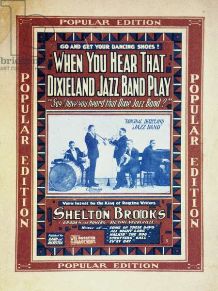 JAZZ SHEET MUSIC, 1918 Songsheet cover, 1918, for music performed by the Original Dixieland Jazz Band, the first group to make a commercial jazz recording.