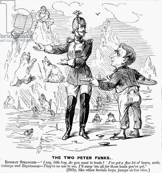 CARTOON: ALASKA PURCHASE, 1867. An American cartoon deriding Secretary of State William H. Seward for having made a bad bargain over the Alaska purchase. Cartoon, 25 May 1867.