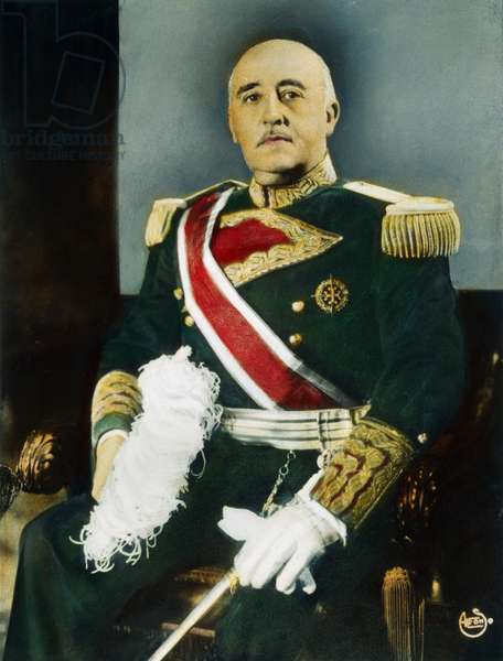 FRANCISCO FRANCO (1892-1975) Spanish soldier and dictator. Oil over a photograph, c.1944.
