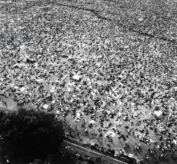 WOODSTOCK FESTIVAL, 1969 Aerial view of the crowd at the Woodstock Music Festival, 16 August 1969, at Bethel, Sullivan County, north of New York City. Photograph by Marty Lederhandler.