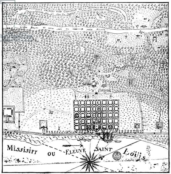 PLAN OF NEW ORLEANS, 1720 From an original sketch-plan of New Orleans, c.1720.