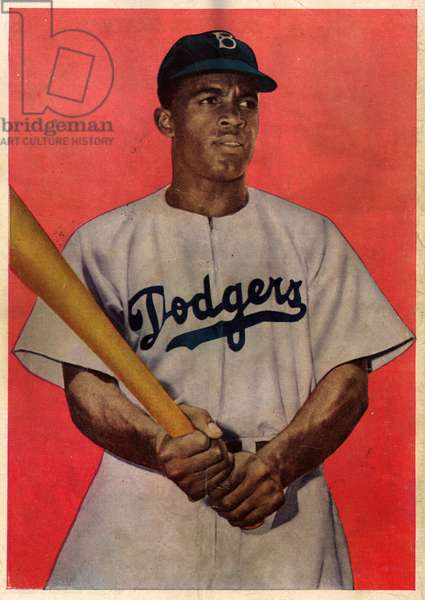 JACKIE ROBINSON (1919-1972) American baseball player. Back cover of a Jackie Robinson comic book, c.1951.