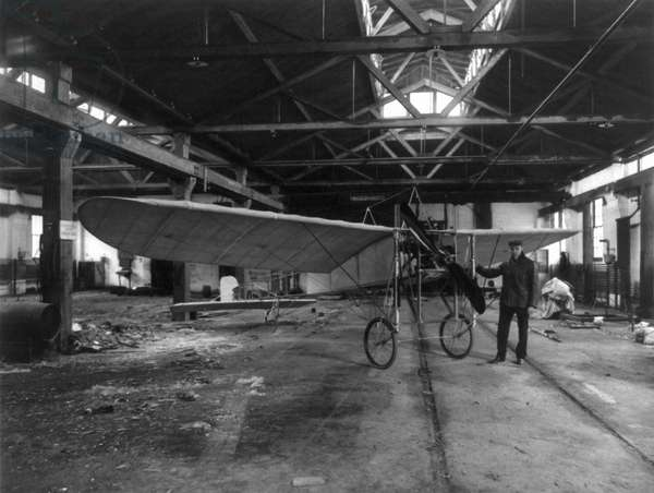 BLERIOT MONOPLANE, c.1910 Louis J. Bergdoll, American automobile manufacturer and aviation enthusiast, photographed standing in front of his Bleriot XI monoplane inside a hangar at Eagle Aviation Field in Manoa, Pennsylvania, c.1910.