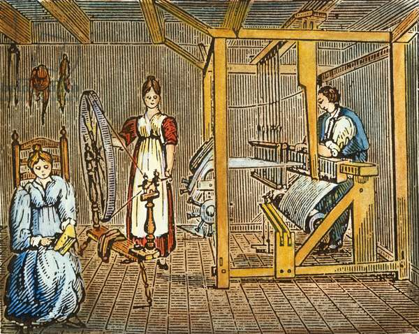 TEXTILE COTTAGE INDUSTRY The cottage industry of carding, spinning, and weaving of wool or flax into cloth in colonial America. Wood engraving, early 19th century.
