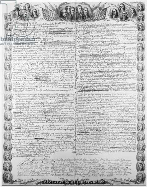 DECLARATION OF INDEPENDENCE Facsimilie of the original draft of the Declaration of Independence with portraits of the signers as a border. Lithograph, 1896, by Kurz & Allison.