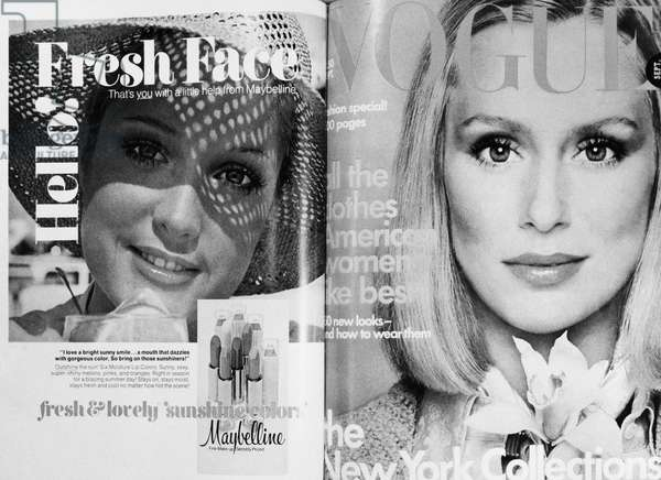 VOGUE MAGAZINE, 1975 Cover of the September 1975 issue of the American edition of 'Vogue' magazine, featuring a photograph of model Lauren Hutton by Francesco Scavullo (right), and a contemporary advertisement for Maybelline lipstick.