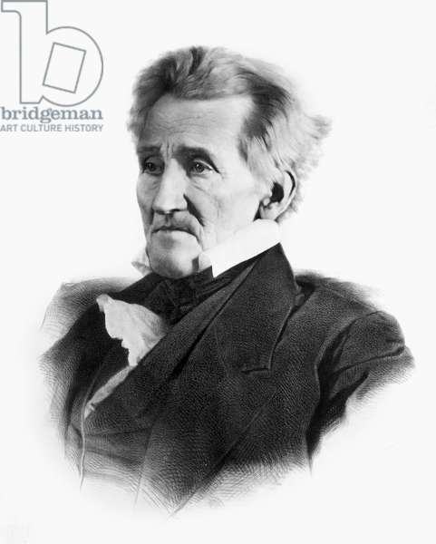 ANDREW JACKSON (1767-1845) Seventh President of the United States. Lithograph, 1856, after a daguerreotype of 1845.