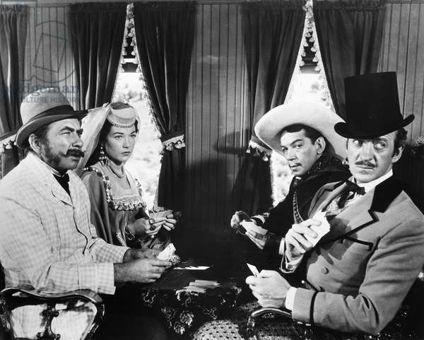 FILM: AROUND THE WORLD Robert Newton, Shirley MacLaine, Cantinflas, and David Niven in the 1956 film, 'Around the World in 80 Days.'
