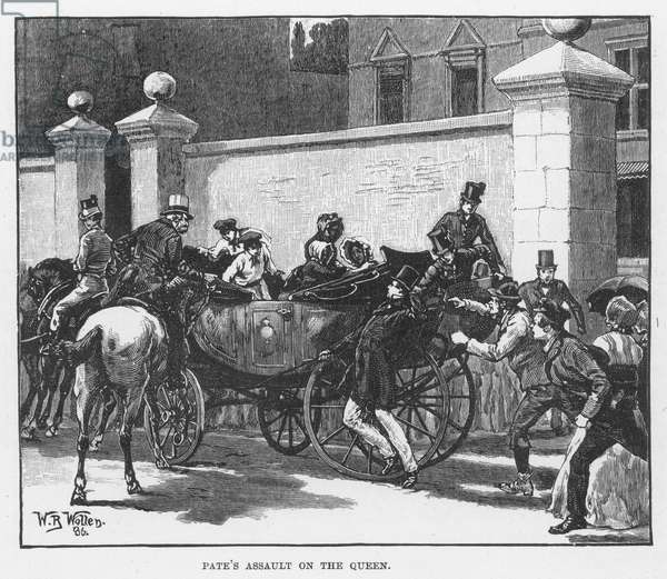 VICTORIA: ASSAULT, 1850 The assault on Queen Victoria by Robert Pate, who struck her on the forehead with the brass knob of his cane, outside Cambridge House, London, 27 June 1850: wood engraving, English, 1886.