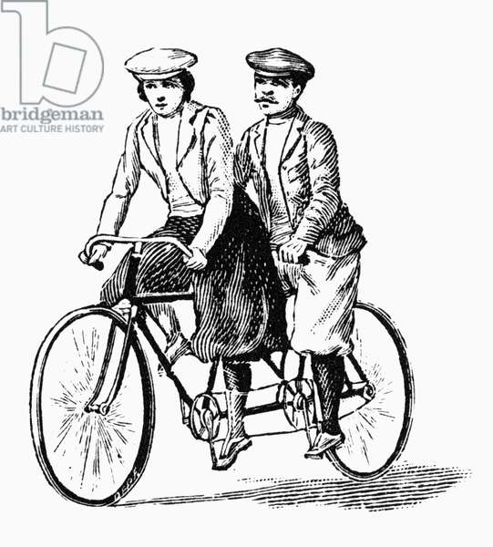 BICYCLING: TANDEM, c.1900 Wood engraving, French, c.1900.