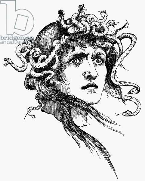 MYTHOLOGY: MEDUSA Line engraving, German, 19th century.