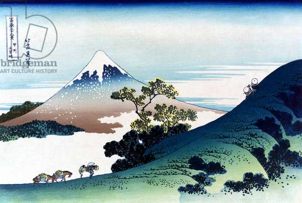 HOKUSAI: INUME PASS A view of Inume pass in the Kai province, Japan, with Mount Fuji in the background. Woodcut by Katsushika Hokusai, early 19th century.