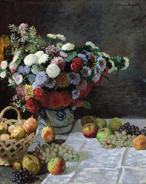 MONET: STILL LIFE, 1869 'Still Life with Flowers and Fruit.' Oil painting, Claude Monet, 1869.
