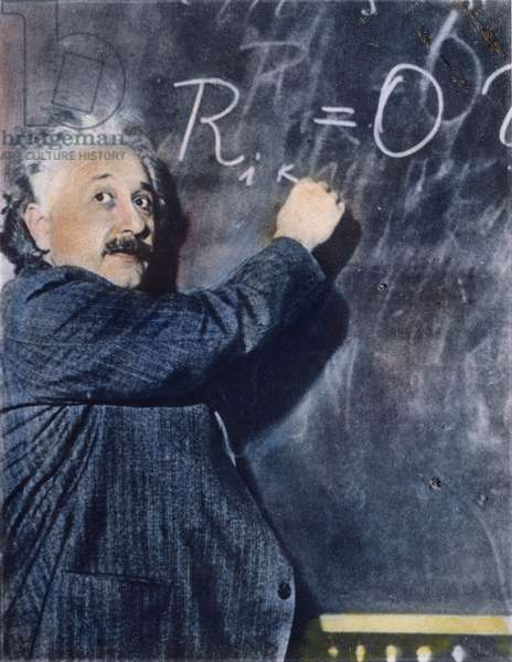 ALBERT EINSTEIN (1879-1955) American (German-born) theoretical physicist. Oil over a photograph.