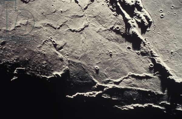 APOLLO 15: MOON VIEW of northwest margin of Aristarchus Plateau from command module, 1971.