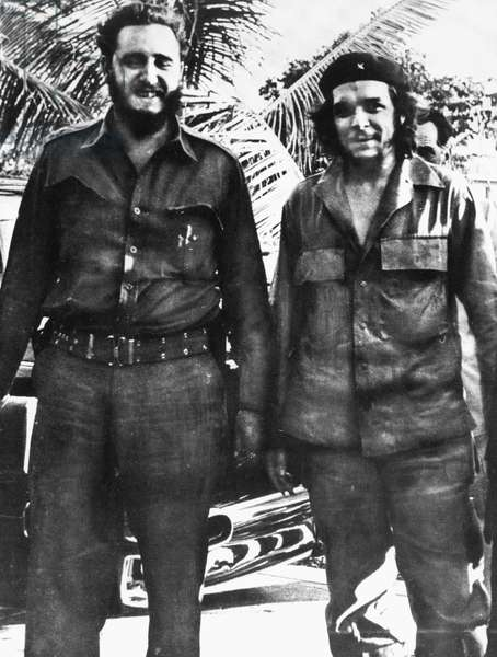CUBA: CASTRO & GUEVARA Fidel Castro (1926- ), left, Cuban political leader, photographed in 1961 with Ernesto 'Che' Guevara (1928-1967), Argentinian revolutionary leader.