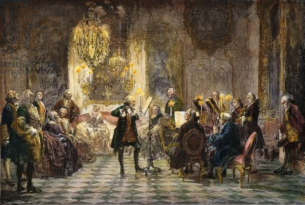 FREDERICK II OF PRUSSIA (Frederick the Great) leading a chamber concert at Sans Souci. Wood engraving, late 19th century, after Adolph von Menzel.