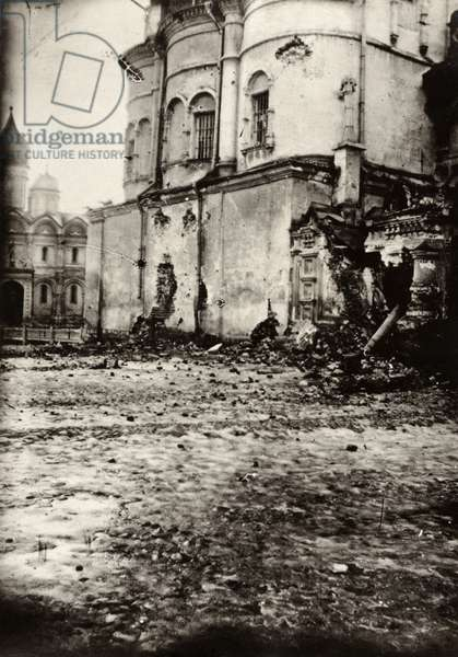 MOSCOW, c.1917 A bullet-riddled building in Moscow, Russia, damaged during the Russian Revolution. Photograph by James Maxwell Pringle, 1917 or 1918.