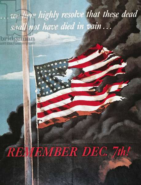 PEARL HARBOR POSTER, 1941 'Remember December 7th.' American World War II poster of the Japanese attack on Pearl Harbor, 1941.