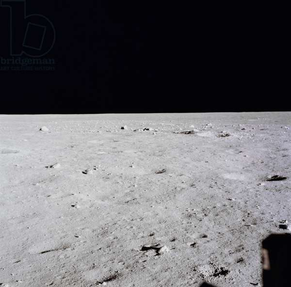 APOLLO 11: MOON, 1969 A view of the landing site as seen from the Apollo 11 Lunar Module. Photograph, 20 July 1969.