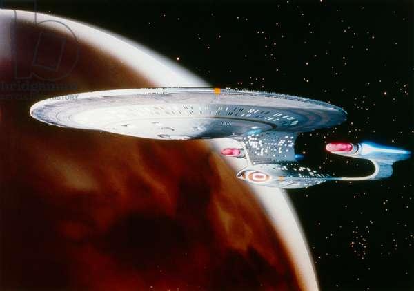 STAR TREK: ENTERPRISE The Starship Enterprise. Publicity still for the television series, 'Star Trek: The Next Generation,' c.1987.