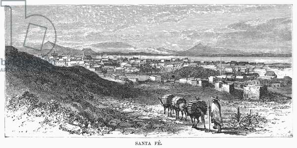 SANTA FE, c.1847 Santa Fe as it appeared when it was ceded to the United States from Mexico in the Treaty of Guadalupe Hidalgo. Line engraving, 19th century.