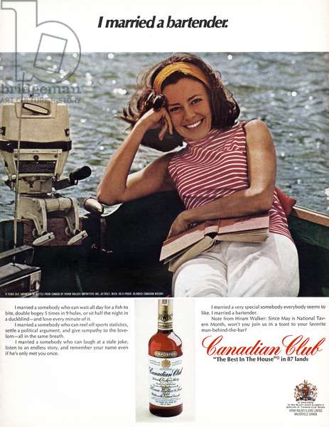 AD: CANADIAN CLUB, 1968 American advertisement for Canadian Club whiskey. Photograph, 1968.