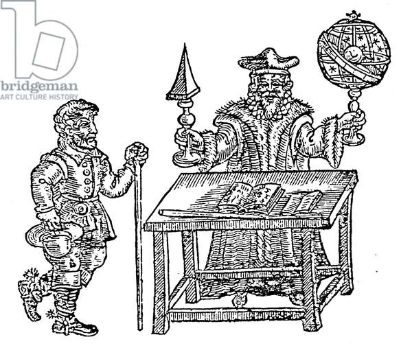 JOHN DEE (1527-1608) English mathematician and astrologer. Dee, armed with celestial sphere and mathematical glass, with his collaborator, Edward Kelley. English woodcut, c.1600.