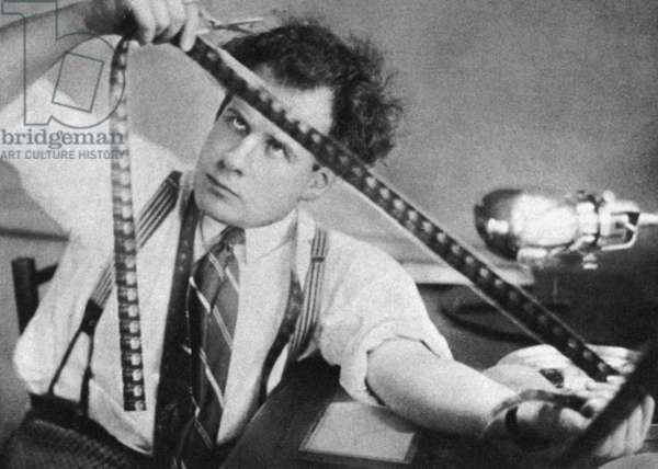 SERGEI EISENSTEIN (1898-1948) Russian motion-picture director. Editing his first film, 'Strike,' in 1924.